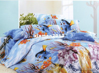 Children Twill Printed 100% cotton brand new blue finding NEMO pattern queen bedding comforter quilt duvet covers sets 4pc