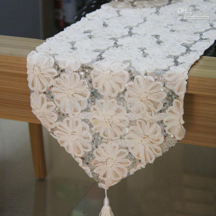 Luxury Fashion Cloth Lace Flower Dining Table Decoration Coffee Table Runner Long Table Fabric