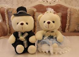 plush teddy bear toy sitting bears lovers in wedding dress, bear toy for wedding gift