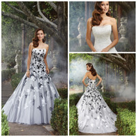 Wholesale 2014 stylish Strapless Sheath A line Court train Organza Bandage White and black Bridal gowns Lace Aplique Wedding dresses