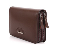1PCS Fashion Light Brown Leather Mens Double- zipper Wallet C...