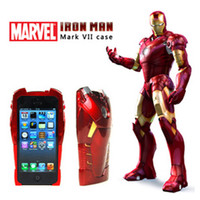 Wholesale 2 in Part Plastic PVC D Avengers Iron Man Mark VII Hard Case Skin Cover Protective Armor With LED Flash For Apple iPhone G S