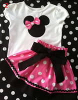 Wholesale 2013 Summer New Children Girl s PC Sets Skirt Suit Minnie Mouse baby Clothing sets dots skirt dots pants girls clothes GQT
