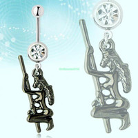 Navel & Bell Button Rings   ES0830 Retro Stripper Dance Pole White Steel Curved Bar Belly Button Navel Ring