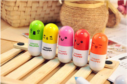 Wholesale Lovely Telescopic Capsule Novelty Pens Smiling Face Tablet Pill Vitamin Ball Pen