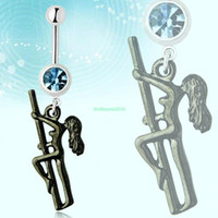 Navel & Bell Button Rings   ES0831 Retro Stripper Dancer Pole Dangle Steel Barbell Belly Button Bar Navel Ring Stud