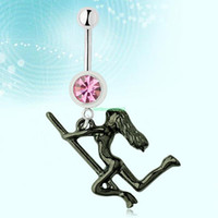 Navel & Bell Button Rings   ES0832 Vintage Stripper Dancer Pole Pink Steel Curved Bar Belly Button Navel Ring