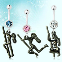 Navel & Bell Button Rings   ES0887 Retro Stripper Dancer Pole Dangle Steel Curved Belly Button Navel Ring Bar