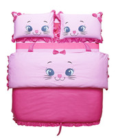 Wholesale New Embroidered Cute Cat Pink Girls Children Bedding sets Twin size Kids Duvet Cover Bed sheet set and Comforter or Bed in a bag