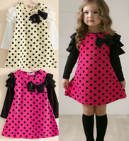 Wholesale Newest hot selling Summer Spring fall Children clothing Baby Toddler Girl s Fashion Girl Long Sleeve T shirt Dot princess Cute dress
