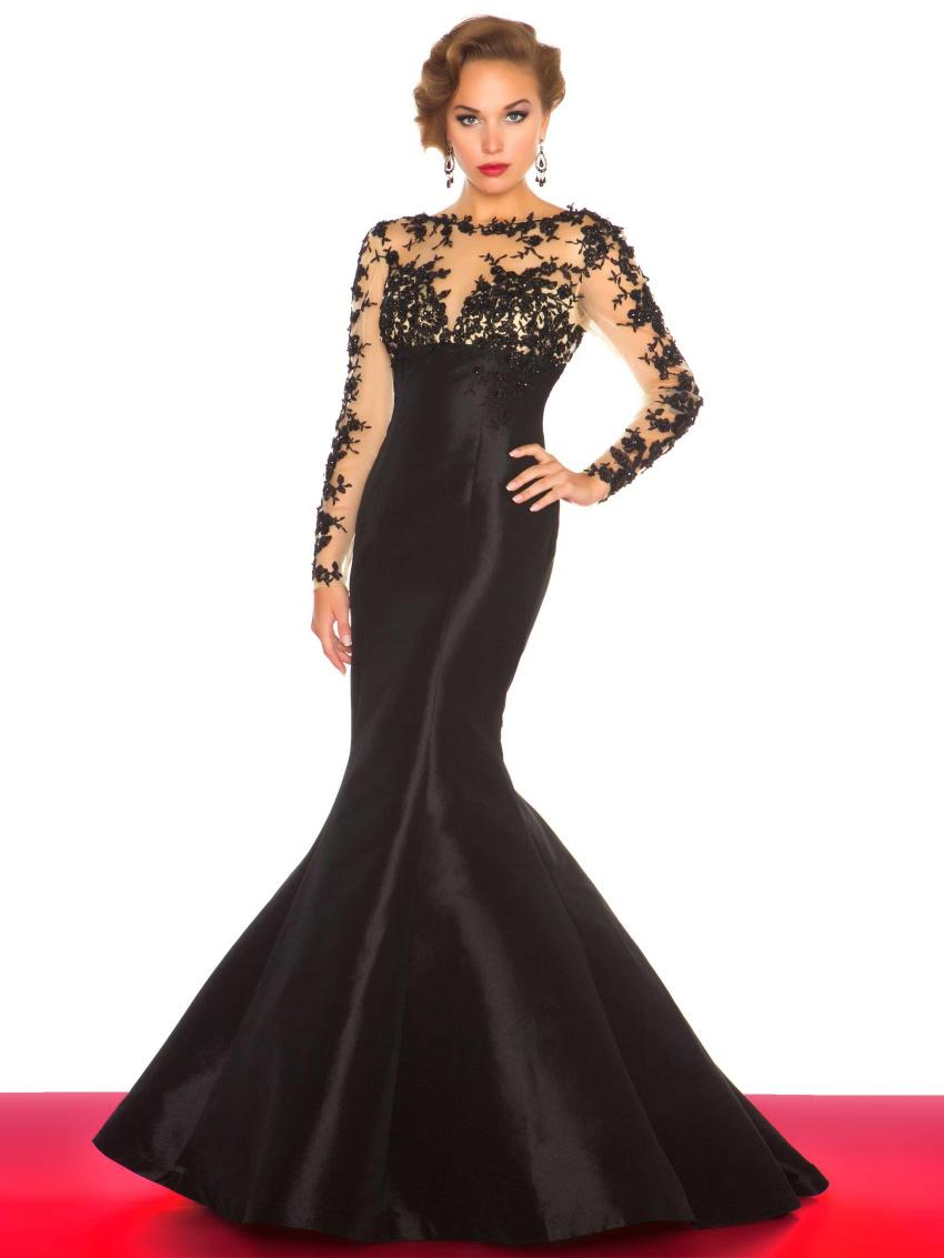 Black Long Sleeves Evening Dresses Slim Crew Neck Open Back Trumpet ...