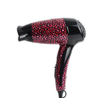 Wholesale household travel hotel water transfer printing red leopard folding handle ionic hair dryer Watts