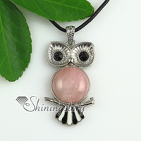 european amethyst owl pendant - round owl jade glass opal rose quartz amethyst natural semi precious stone necklaces pendants Fashion jewelry in bulk