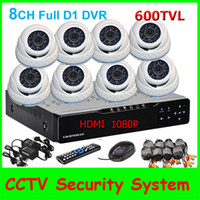 8   Touch 8CH H.264 Full D1 1080P HD Network DVR 8pcs Sony CCD 600TVL IR Waterproof Indoor Security CCTV Camera Surveillance System