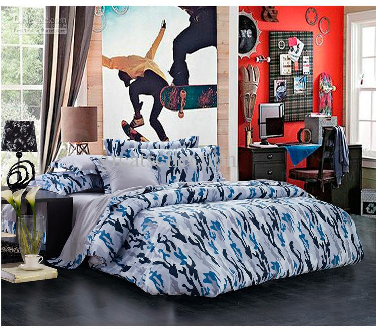 Newest Blue Camouflage Cool Bedding Sets Queen Full Size