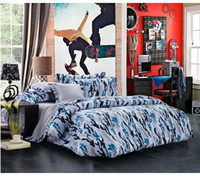Wholesale Newest Blue Camouflage Cool Bedding sets Queen Full size for boys mens Reversible Duvet Cover Grey Bed Sheet set Bed Linen Bed in a bag