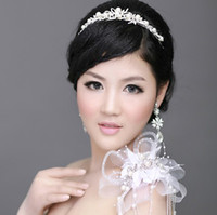 Wholesale Shiny Alloy With Elegant Rhinestone Pearl Item Jewelry Set Including Tiara Earrings