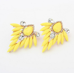 New Gold Plated leaf earring Fashion Charming Fluorescence Color Resin Drop Leaf Rhinestone Ear Stud Earrings