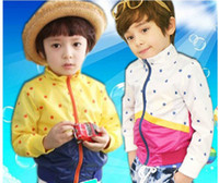 2-10T With Hood Girl 5 pieces lot 2013 New Fashion Fall Spring Autumn Kids Baby Boys Girls Male Female Long Sleeve Yellow White Polka Dot Coats Cardigan Jacket