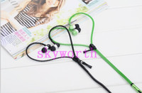 Wholesale Fashion Zipper Headset mm In Ear Zip Earphone MP3 Headphone for iphone Samsung Phone PC MID Ipod