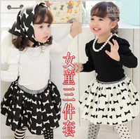 Girl bandage skirt outfit - Hot Sale New Children s Outfits amp Sets pure cotton long sleeve t shirt short skirt Triangular bandage set kids casual suits