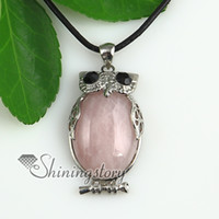 amethyst owl pendant - oval owl jade rose quartz glass opal amethyst tiger s eye agate natural semi precious stone pendant necklaces High fashion jewelry