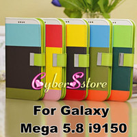 Leather For Samsung  Hit Contrast Color Painting Folio PU Wallet Leather Case Cover With Credit Card Slots Stand For Samsung Galaxy Mega 5.8 i9150