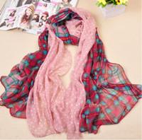 Wholesale mu214 plain voile printed long scarf plaid and polka dot shawl big size scarf can be muslim hijab
