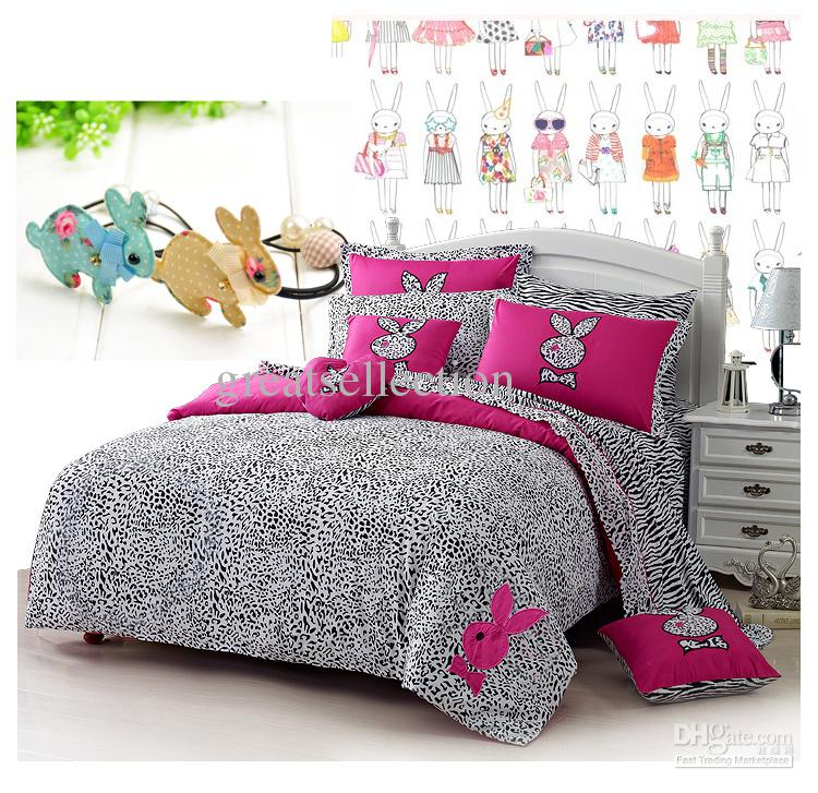 New Leopard Printed Pink Rabbit Embroidered Bedding Sets