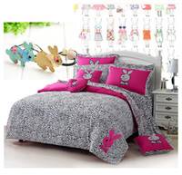 Wholesale New Leopard Printed Pink Rabbit Embroidered Bedding sets for girl lady Duvet Cover bed Sheet set QueenTwin size Bed in a bag bedlinen