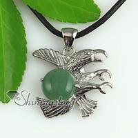 semi precious stone eagle pendant - round eagle jade rose quartz agate natural semi precious stone pendant necklaces Handmade jewelry