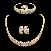 Wholesale Chinese style K Gold Plated Vintage Jewelry Chunky Necklace Chain and Bangle Set Designer Jewelry A313