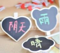 Wholesale Heart Shaped Bear Head Shaped mini Blackboard mini Message Board with Clip about cm Wood Blackboard Freeshipping