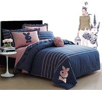 Adult bedlinen sets - Embroidered Cute Rabbit Queen Full size Bedding sets For Girls Lady Duvet Cover Bed Sheet Pillow case set Bedlinen bed in a bag