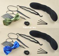 Hair Clip Guangdong China (Mainland) 20 20 sets ctn wholesale magic Hair Styling tool sets Accessory Sponge Ring Maker Twist Tool include 6 kinds 10 pcs set, 55g set
