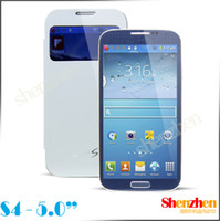 Wholesale Original size i9500 S4 android phone Camera MP with quot Screen Free Leather case cell phones