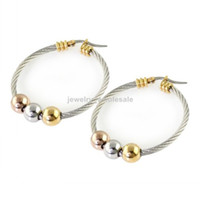 Wholesale Nes049 new design high grade Stainless Steel gold silver mm beads MM wire hoop earring women girls jewelry gifts