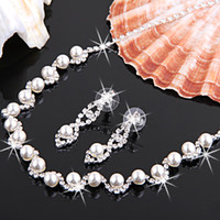 Wholesale set Silver Plated Pearl Rhinestone Bridal Necklace Earrings Set Fashion Jewelry Sets amp Wedding Jewelry