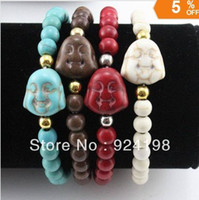 Wholesale classic cheap turquoise bead buddha head bracelet for men