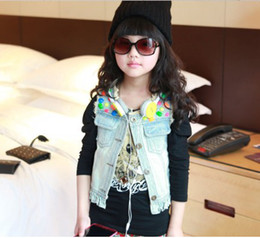 Wholesale A3002 girls fashion vest children washed denim waistcoat cool tank tops kids costume morden clothing popular garment lcagmy