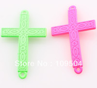 Cross Connector cross beads - NEW Fluorescent Neon Color Sideways Cross Connector Link Charm Beads for DIY Bracelet Jewelry Making ZBE77