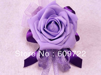 Wholesale 2015 New Prom PU Wedding Church Decor Boutonniere Artificial Rose Corsage Wrist Flower Purple FL818