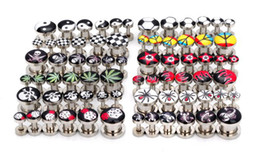 Wholesale 72pcs Mix Style Stainless Steel Screw Flesh Tunnels Tunnel Ear Plug Rings Body Piercing Jewelry Mix Sizes BB155