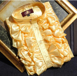 Wholesale Hot Sale Long sleeved Shirt Shiny Men s Wedding Prom Groom Shirts Bridegroom Performance Party Gold Yellow White Purple Formal