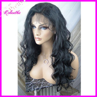 Wholesale Full lace wigs idian remy human hair cheap wigs body wave Off black B bleached with baby hair In stock