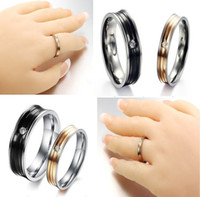Wholesale 30 off pairs new models Rhinestone exquisite stripes Ring Titanium couple rings wedding jewelry ring rings jewelery cheap rings