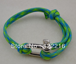 free shipping 5pcs a lot Best quality rhodium plated unique anchor shackle green rope bracelet jewelry(