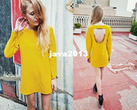 other other Women Wow!!! Yellow Casual Dress Backless Hole Long Sleeves Jersey Bright Color Brand Dresses Evening Event Party Prom Sexy Dress