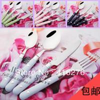 Wholesale Stainless steel knife fork spoon chromophous western cutlery set