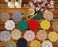 Wholesale cotton hand made COLORFUL Doily mats Crochet cup mat coaster x10CM zp001b